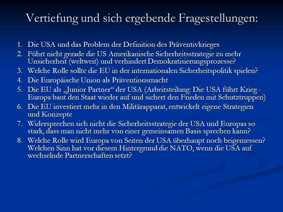 Vertiefung und sich ergebende Fragestellungen: 1.Die USA und das Problem der Definition des Präventivkrieges 2.Führt nicht gerade die US Amerikanische