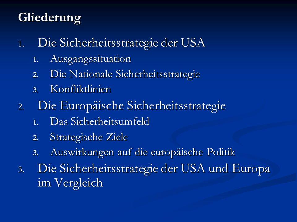 Gliederung 1. Die Sicherheitsstrategie der USA 1. Ausgangssituation 2. Die Nationale Sicherheitsstrategie 3. Konfliktlinien 2. Die Europäische Sicherh