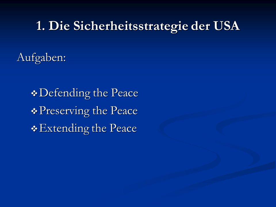 1. Die Sicherheitsstrategie der USA Aufgaben:  Defending the Peace  Preserving the Peace  Extending the Peace