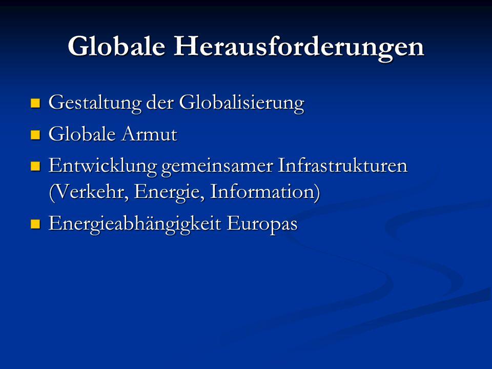 Globale Herausforderungen Gestaltung der Globalisierung Gestaltung der Globalisierung Globale Armut Globale Armut Entwicklung gemeinsamer Infrastruktu