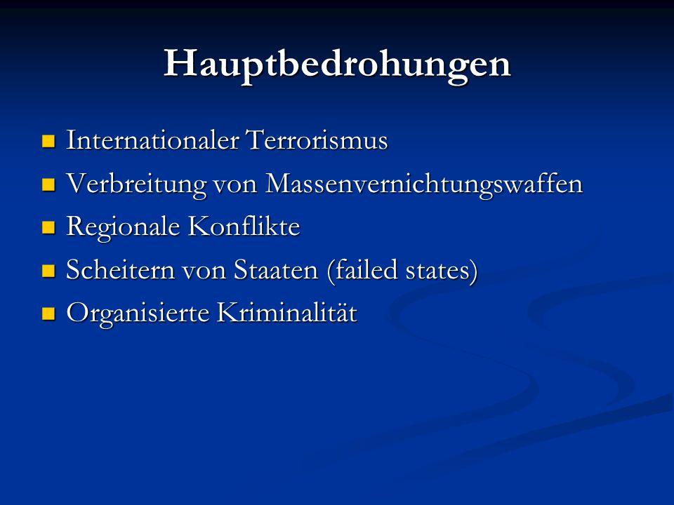 Hauptbedrohungen Internationaler Terrorismus Internationaler Terrorismus Verbreitung von Massenvernichtungswaffen Verbreitung von Massenvernichtungswa
