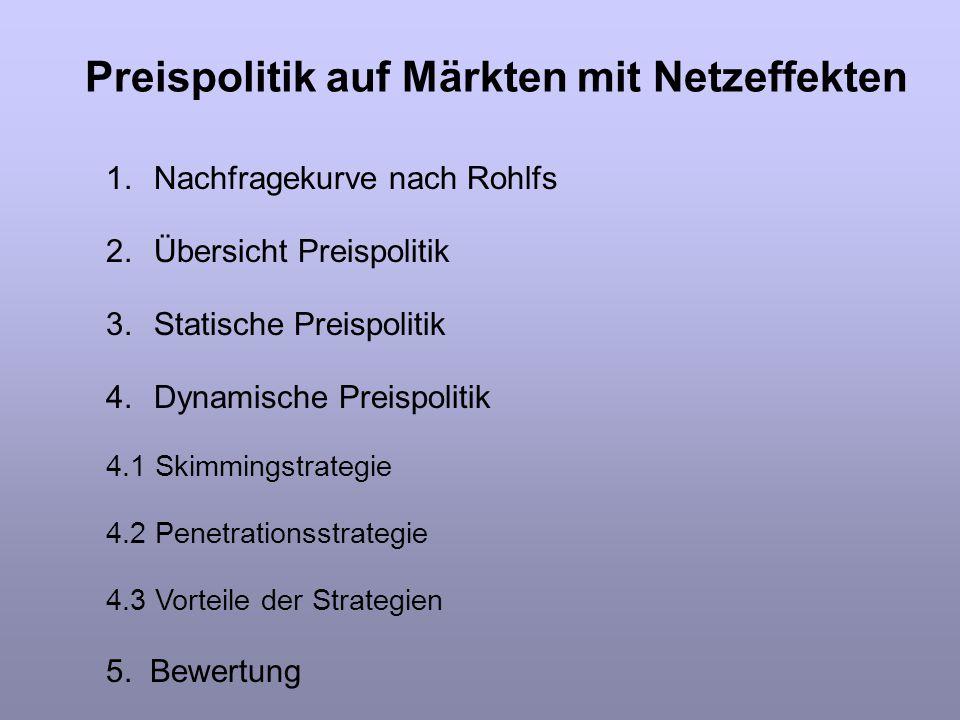 1.Nachfragekurve nach Rohlfs 2.Übersicht Preispolitik 3.Statische Preispolitik 4.Dynamische Preispolitik 4.1 Skimmingstrategie 4.2 Penetrationsstrateg