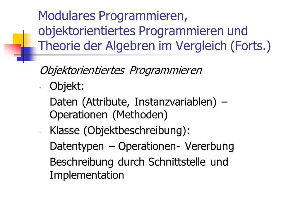 Modulares Programmieren, objektorientiertes Programmieren und Theorie der Algebren im Vergleich (Forts.) Objektorientiertes Programmieren - Objekt: Da
