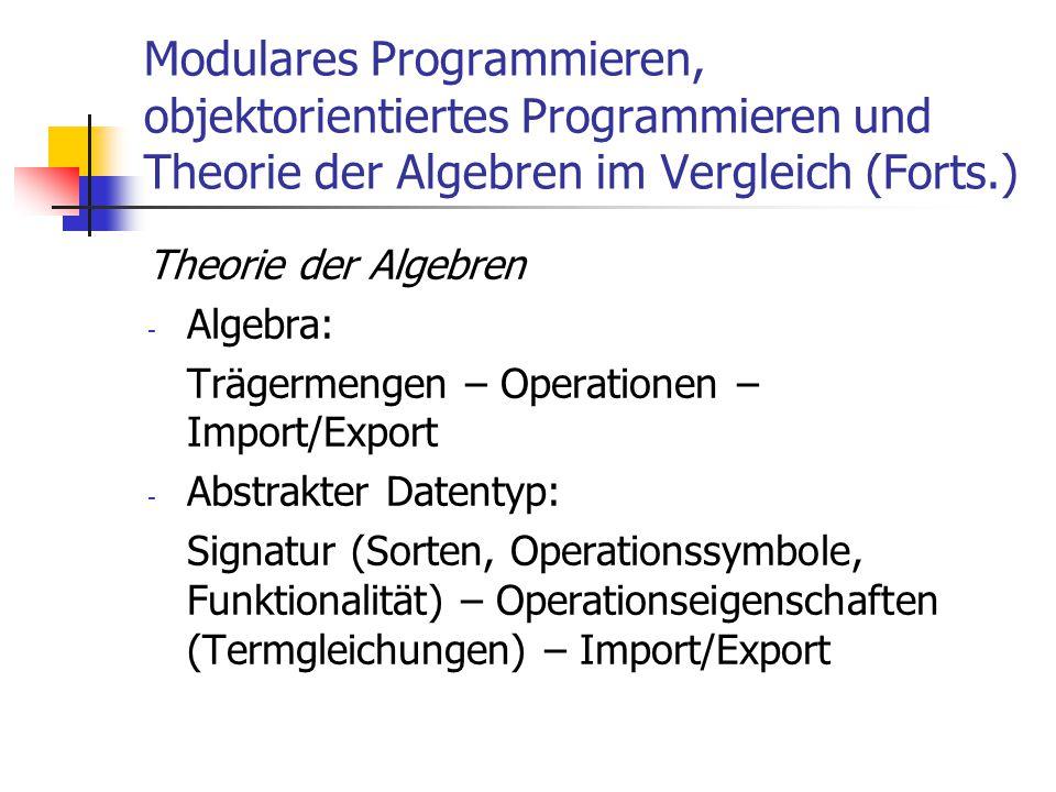 Modulares Programmieren, objektorientiertes Programmieren und Theorie der Algebren im Vergleich (Forts.) Theorie der Algebren - Algebra: Trägermengen