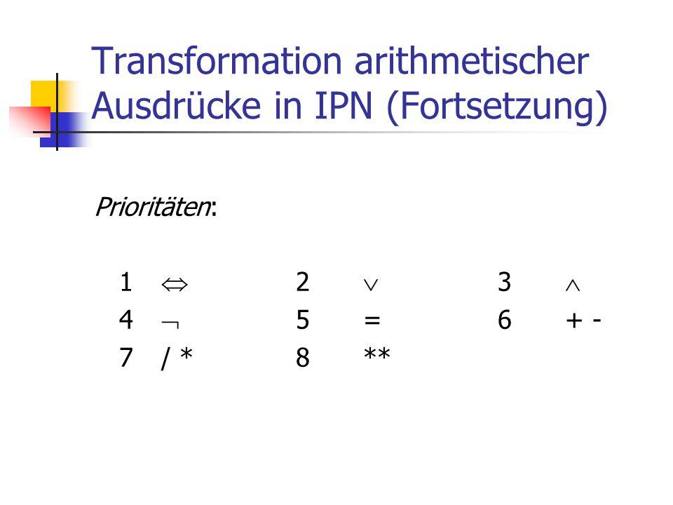 Transformation arithmetischer Ausdrücke in IPN (Fortsetzung) Prioritäten: 1  2  3  4  5=6+ - 7/ *8**