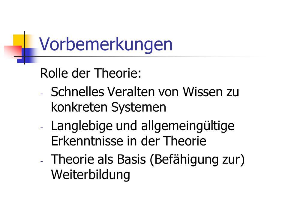 Vorbemerkungen Rolle der Theorie: - Schnelles Veralten von Wissen zu konkreten Systemen - Langlebige und allgemeingültige Erkenntnisse in der Theorie