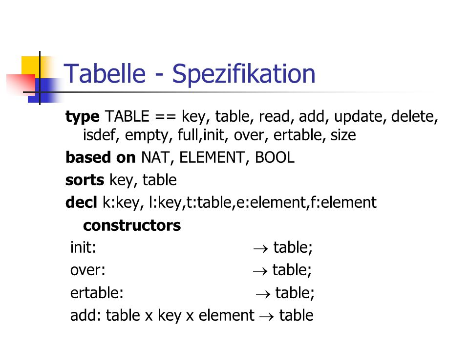 Tabelle - Spezifikation type TABLE == key, table, read, add, update, delete, isdef, empty, full,init, over, ertable, size based on NAT, ELEMENT, BOOL