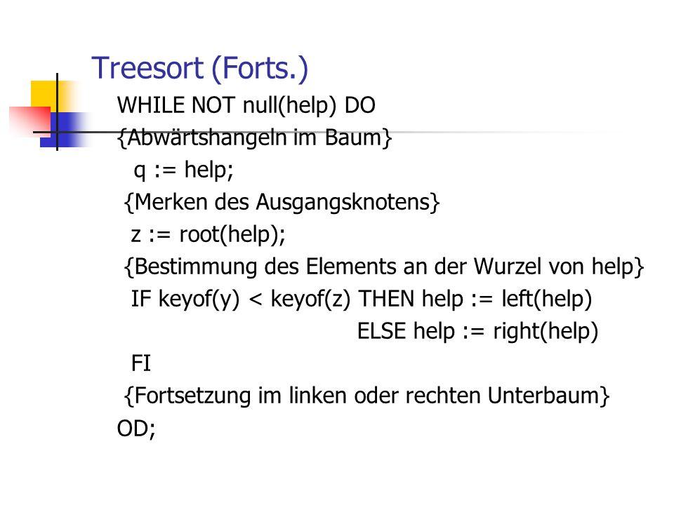 Treesort (Forts.) WHILE NOT null(help) DO {Abwärtshangeln im Baum} q := help; {Merken des Ausgangsknotens} z := root(help); {Bestimmung des Elements a