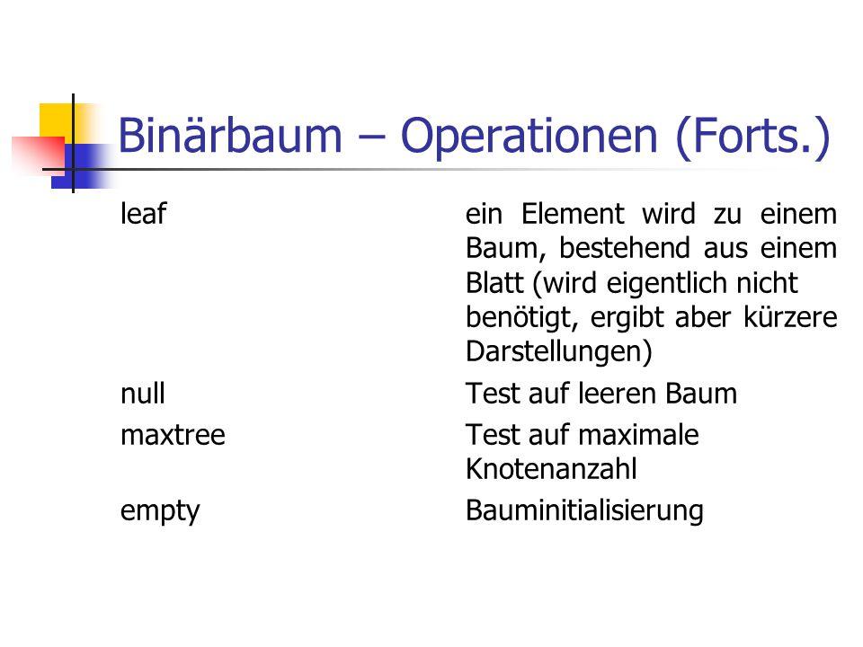 Binärbaum – Operationen (Forts.) leafein Element wird zu einem Baum, bestehend aus einem Blatt (wird eigentlich nicht benötigt, ergibt aber kürzere Da