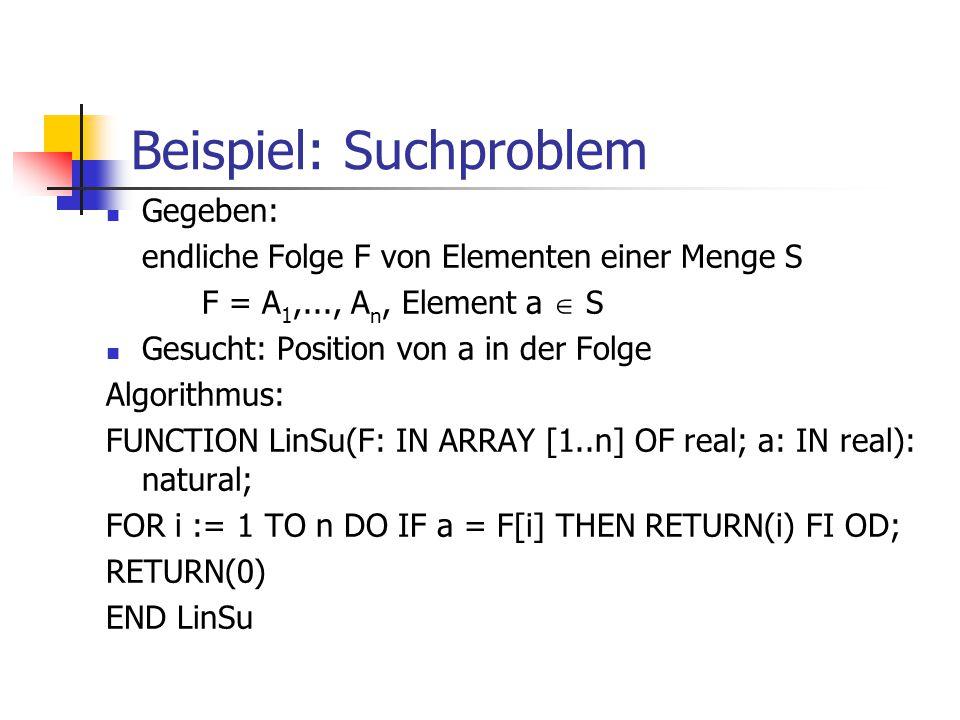 Beispiel: Suchproblem Gegeben: endliche Folge F von Elementen einer Menge S F = A 1,..., A n, Element a  S Gesucht: Position von a in der Folge Algor