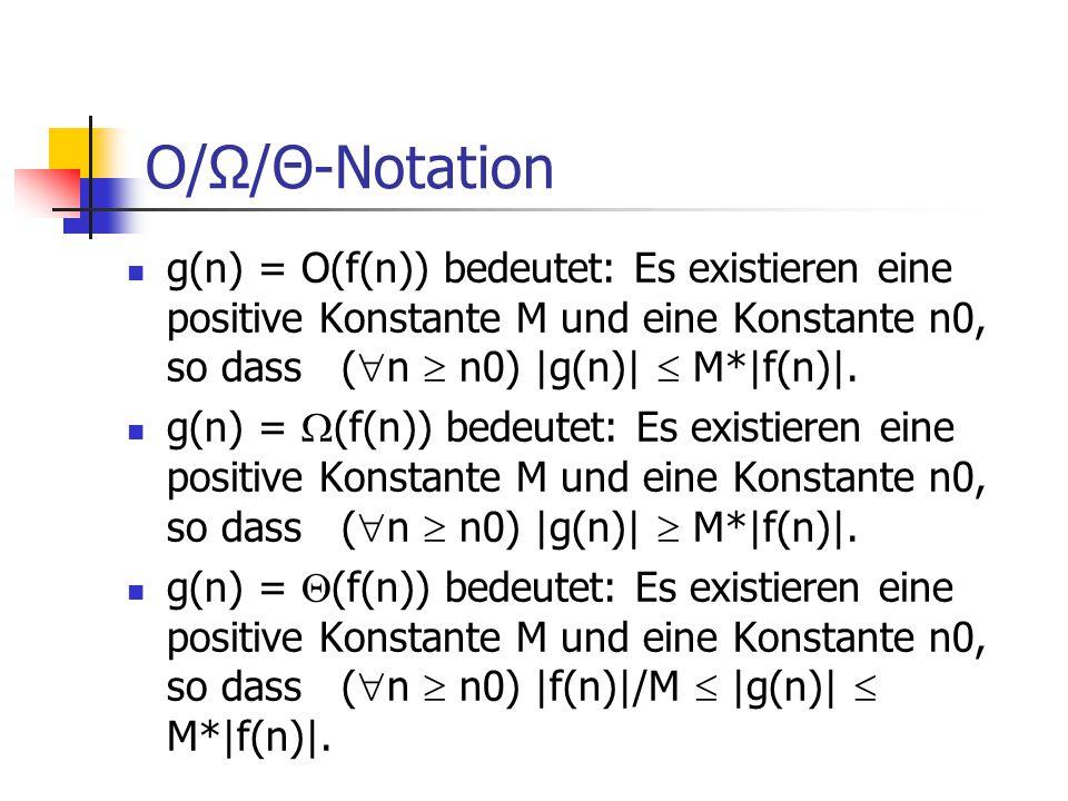 O/Ω/Θ-Notation g(n) = O(f(n)) bedeutet: Es existieren eine positive Konstante M und eine Konstante n0, so dass (  n  n0) |g(n)|  M*|f(n)|. g(n) = 