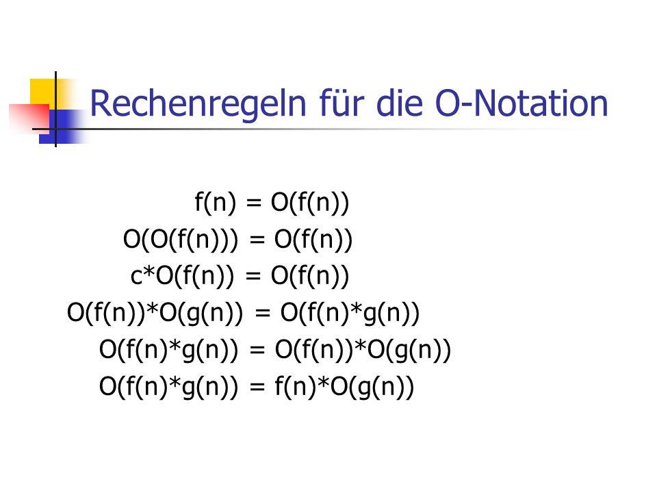Rechenregeln für die O-Notation f(n) = O(f(n)) O(O(f(n))) = O(f(n)) c*O(f(n)) = O(f(n)) O(f(n))*O(g(n)) = O(f(n)*g(n)) O(f(n)*g(n)) = O(f(n))*O(g(n))
