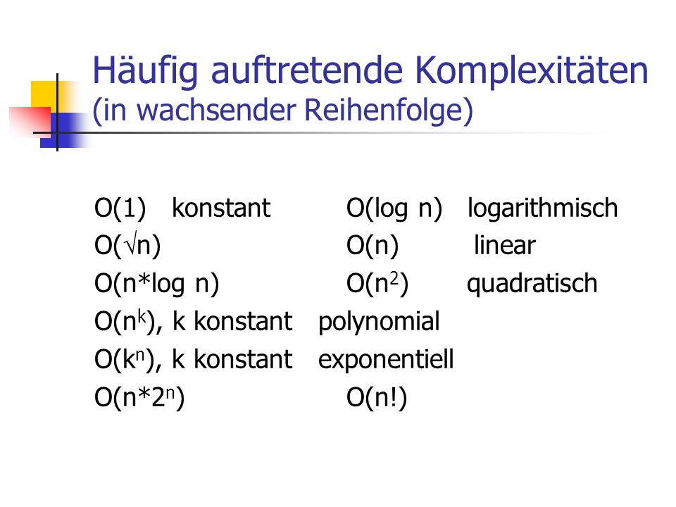 Häufig auftretende Komplexitäten (in wachsender Reihenfolge) O(1) konstant O(log n) logarithmisch O(  n) O(n) linear O(n*log n) O(n 2 ) quadratisch O