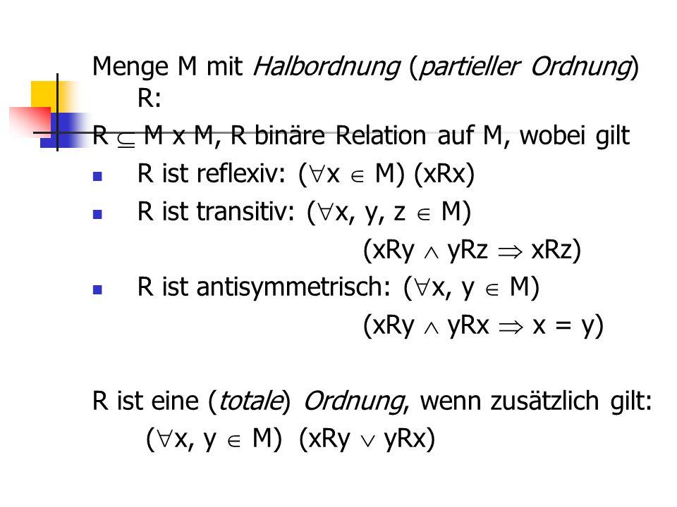 Menge M mit Halbordnung (partieller Ordnung) R: R  M x M, R binäre Relation auf M, wobei gilt R ist reflexiv: (  x  M) (xRx) R ist transitiv: (  x
