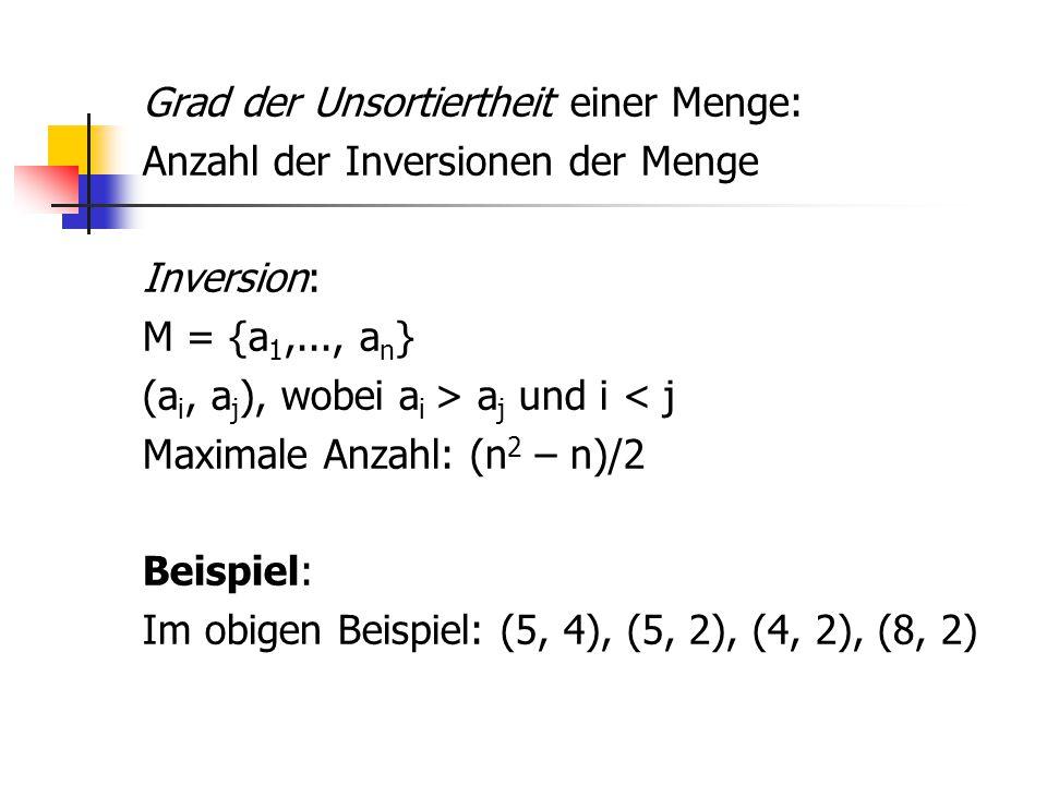 Grad der Unsortiertheit einer Menge: Anzahl der Inversionen der Menge Inversion: M = {a 1,..., a n } (a i, a j ), wobei a i > a j und i < j Maximale A