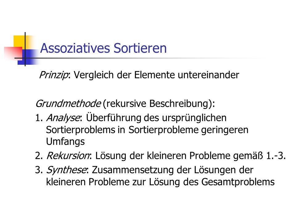Assoziatives Sortieren Prinzip: Vergleich der Elemente untereinander Grundmethode (rekursive Beschreibung): 1.Analyse: Überführung des ursprünglichen