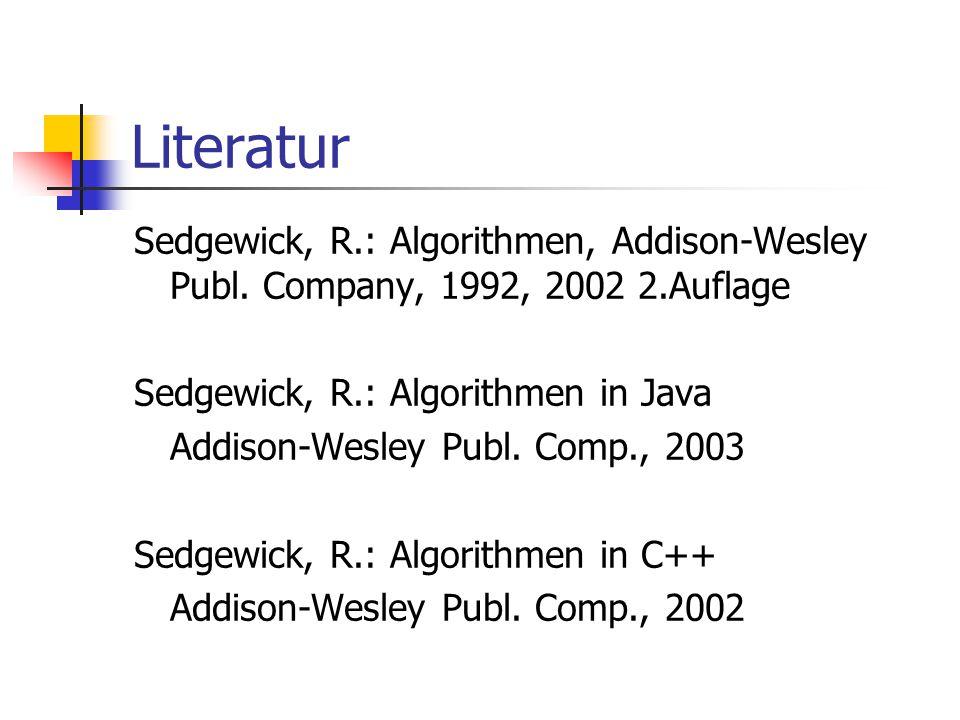 Literatur Sedgewick, R.: Algorithmen, Addison-Wesley Publ. Company, 1992, 2002 2.Auflage Sedgewick, R.: Algorithmen in Java Addison-Wesley Publ. Comp.
