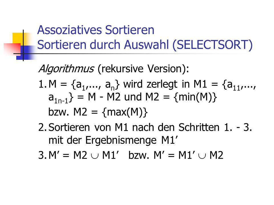 Assoziatives Sortieren Sortieren durch Auswahl (SELECTSORT) Algorithmus (rekursive Version): 1.M = {a 1,..., a n } wird zerlegt in M1 = {a 11,..., a 1