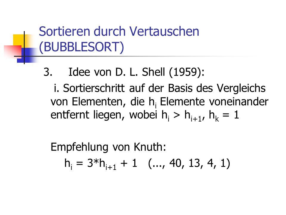 Sortieren durch Vertauschen (BUBBLESORT) 3.Idee von D. L. Shell (1959): i. Sortierschritt auf der Basis des Vergleichs von Elementen, die h i Elemente