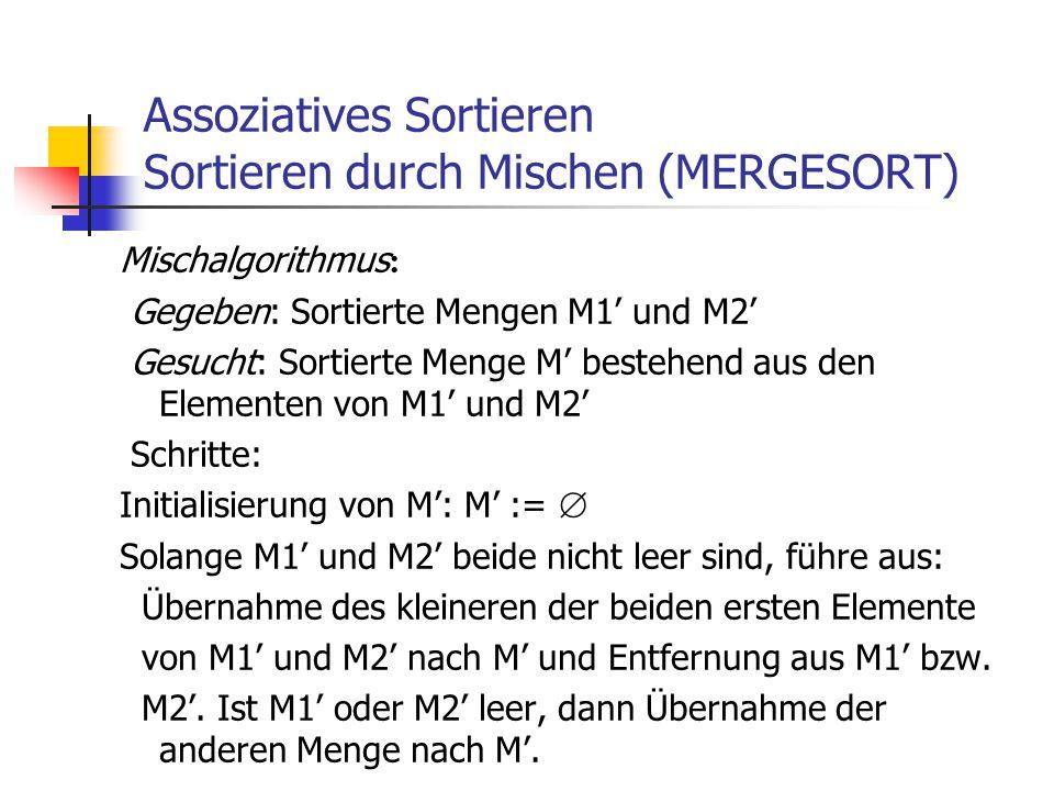 Assoziatives Sortieren Sortieren durch Mischen (MERGESORT) Mischalgorithmus : Gegeben: Sortierte Mengen M1' und M2' Gesucht: Sortierte Menge M' besteh