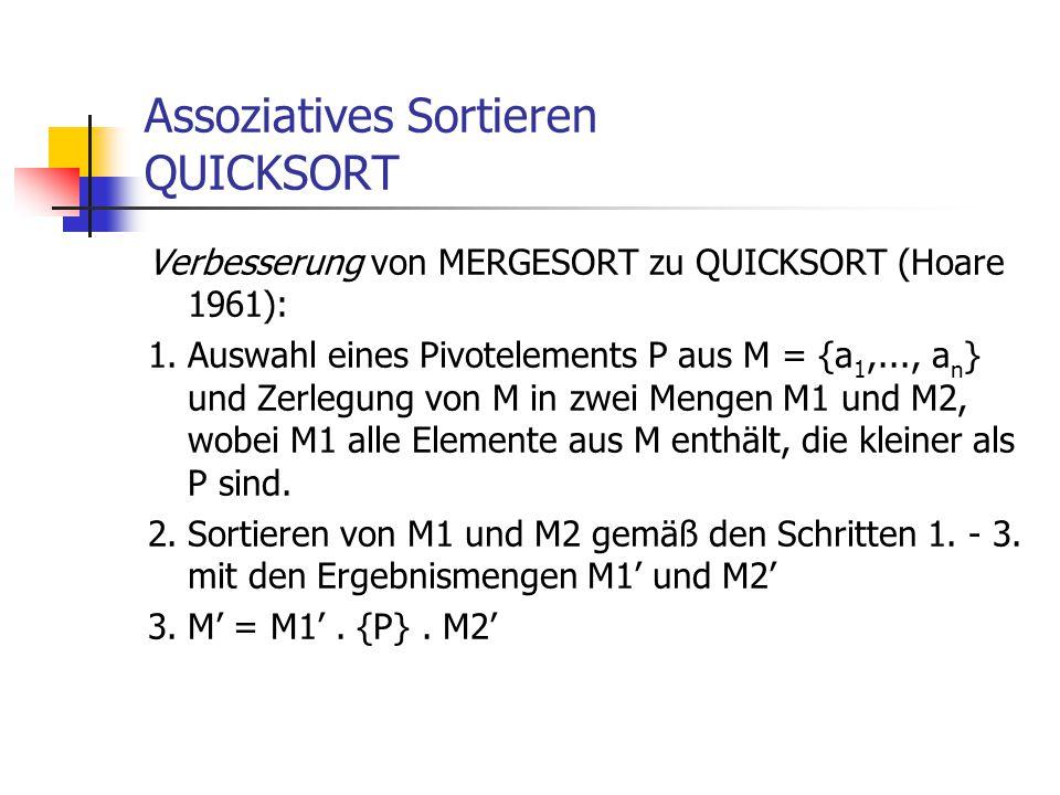Assoziatives Sortieren QUICKSORT Verbesserung von MERGESORT zu QUICKSORT (Hoare 1961): 1.Auswahl eines Pivotelements P aus M = {a 1,..., a n } und Zer