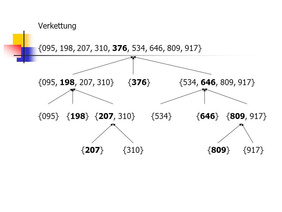 Verkettung {095, 198, 207, 310, 376, 534, 646, 809, 917} {095, 198, 207, 310} {376}{534, 646, 809, 917} {095}{198}{207, 310}{534} {646} {809, 917} {20
