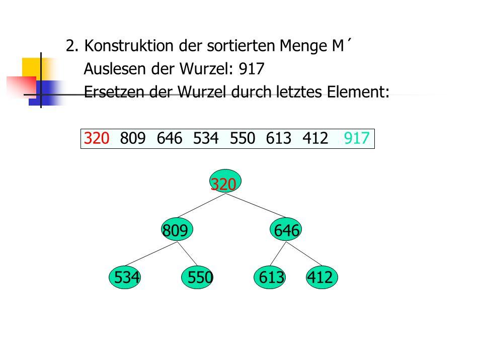 2. Konstruktion der sortierten Menge M´ Auslesen der Wurzel: 917 Ersetzen der Wurzel durch letztes Element: 320 809 646 534 550 613 412 917 320 809 64