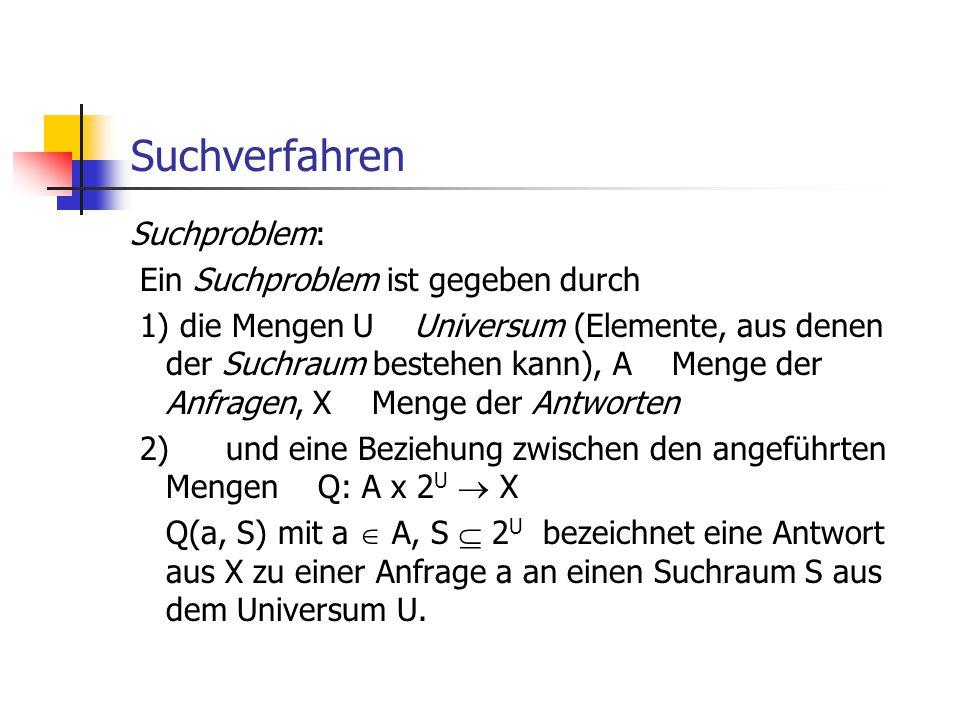 Suchverfahren Suchproblem: Ein Suchproblem ist gegeben durch 1) die Mengen U Universum (Elemente, aus denen der Suchraum bestehen kann), A Menge der A