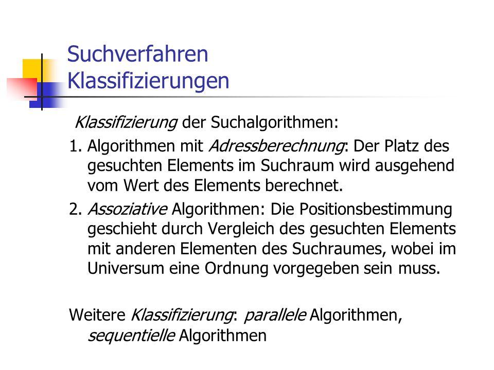 Suchverfahren Klassifizierungen Klassifizierung der Suchalgorithmen: 1.Algorithmen mit Adressberechnung: Der Platz des gesuchten Elements im Suchraum