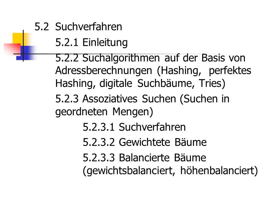 5.2 Suchverfahren 5.2.1 Einleitung 5.2.2 Suchalgorithmen auf der Basis von Adressberechnungen (Hashing, perfektes Hashing, digitale Suchbäume, Tries)