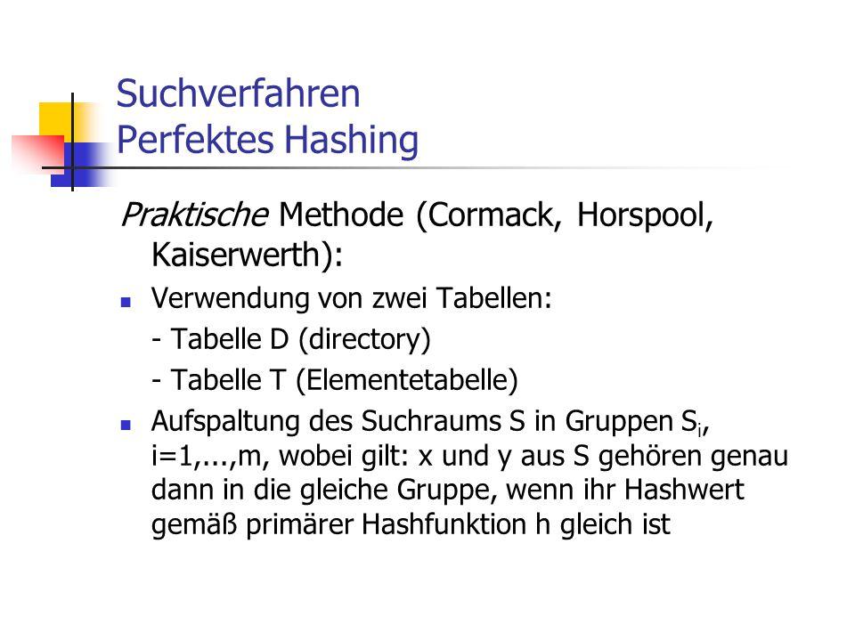 Suchverfahren Perfektes Hashing Praktische Methode (Cormack, Horspool, Kaiserwerth): Verwendung von zwei Tabellen: - Tabelle D (directory) - Tabelle T