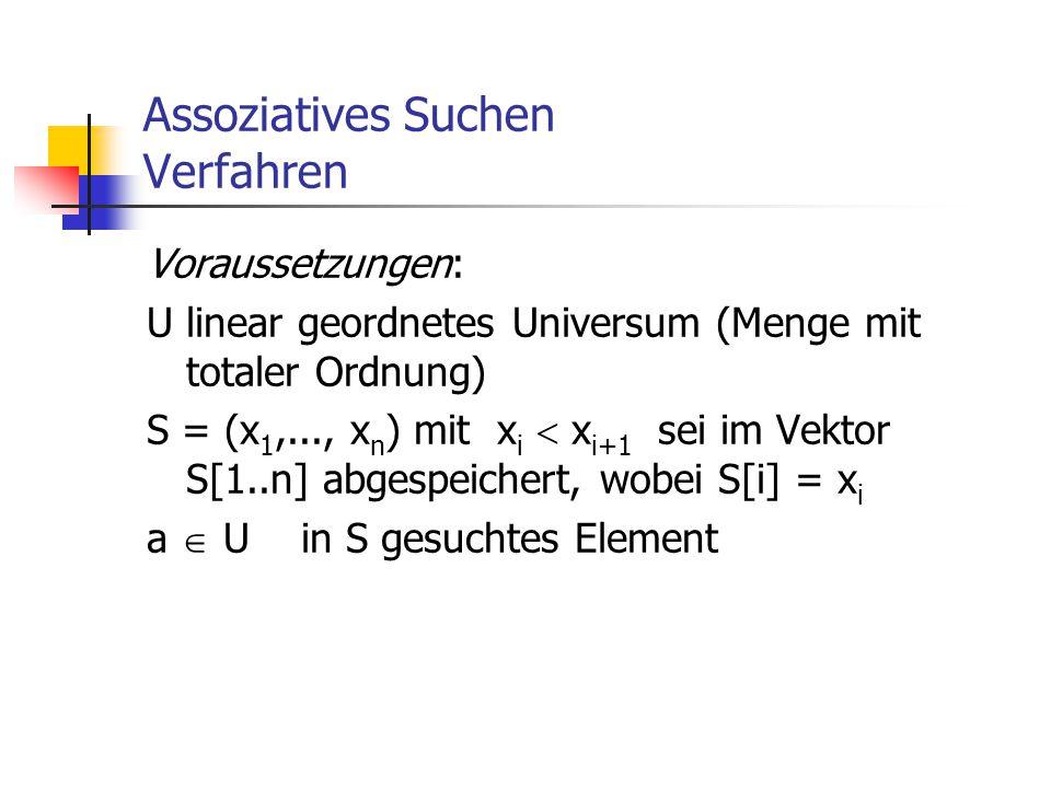 Assoziatives Suchen Verfahren Voraussetzungen: U linear geordnetes Universum (Menge mit totaler Ordnung) S = (x 1,..., x n ) mit x i  x i+1 sei im Ve