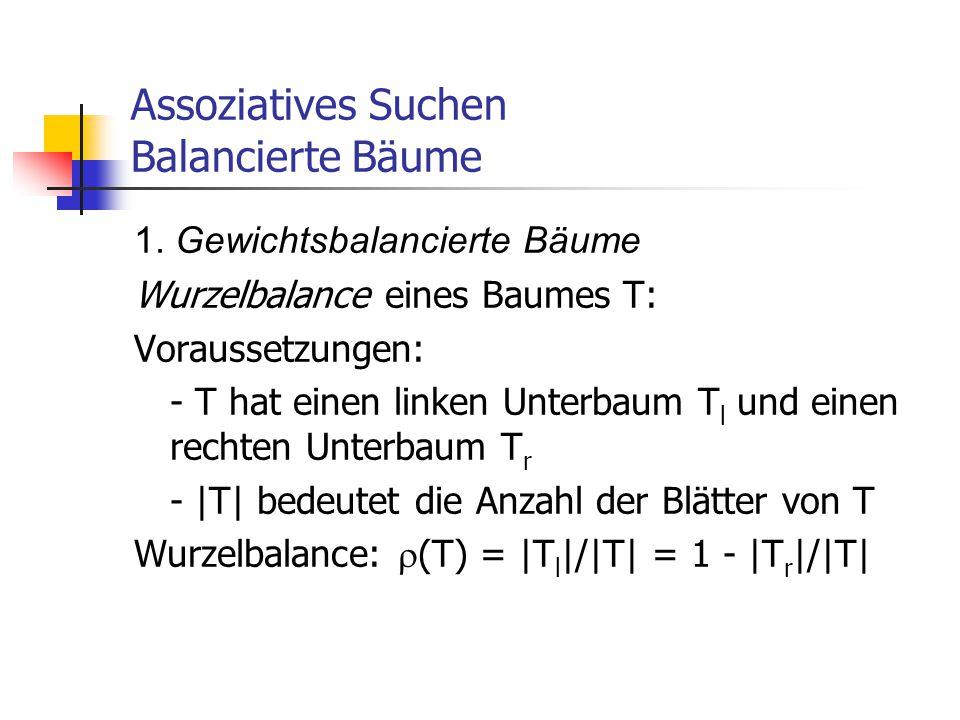Assoziatives Suchen Balancierte Bäume 1. Gewichtsbalancierte Bäume Wurzelbalance eines Baumes T: Voraussetzungen: - T hat einen linken Unterbaum T l u