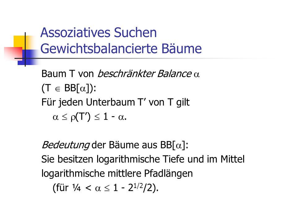 Assoziatives Suchen Gewichtsbalancierte Bäume Baum T von beschränkter Balance  (T  BB[  ]): Für jeden Unterbaum T' von T gilt    (T')  1 - . B