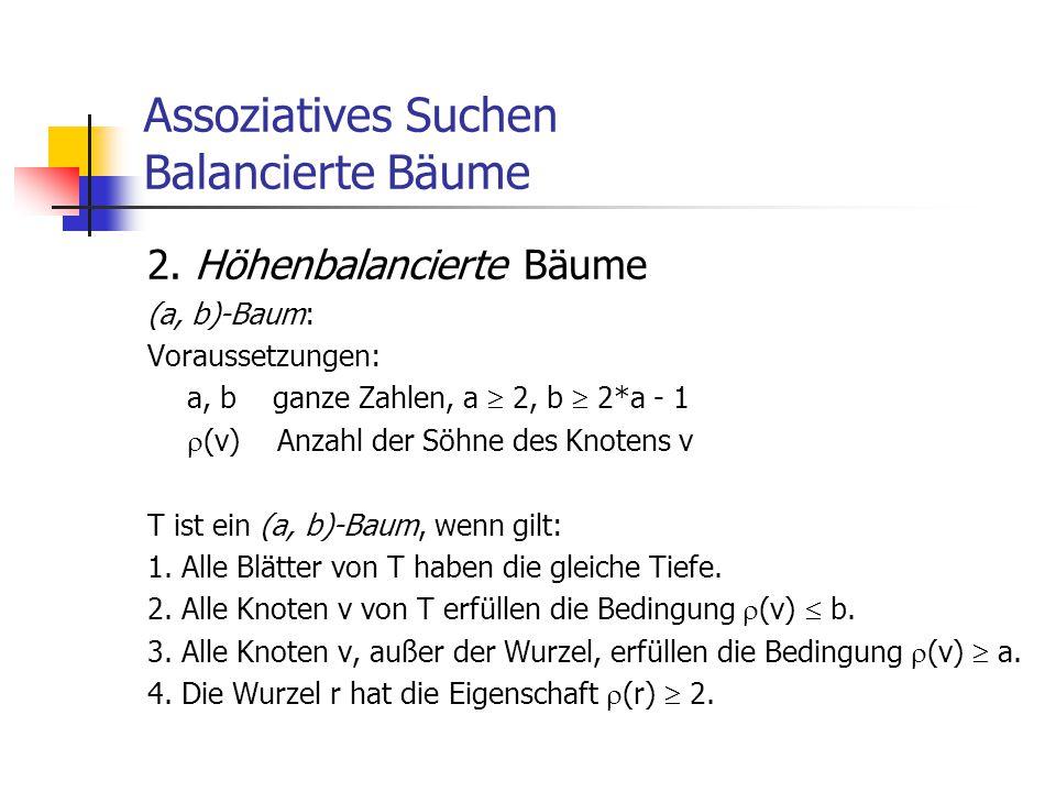 Assoziatives Suchen Balancierte Bäume 2. Höhenbalancierte Bäume (a, b)-Baum: Voraussetzungen: a, b ganze Zahlen, a  2, b  2*a - 1  (v) Anzahl der S
