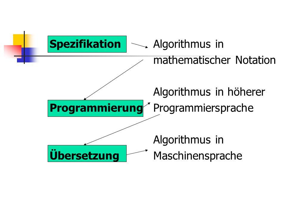 SpezifikationAlgorithmus in mathematischer Notation Algorithmus in höherer ProgrammierungProgrammiersprache Algorithmus in ÜbersetzungMaschinensprache