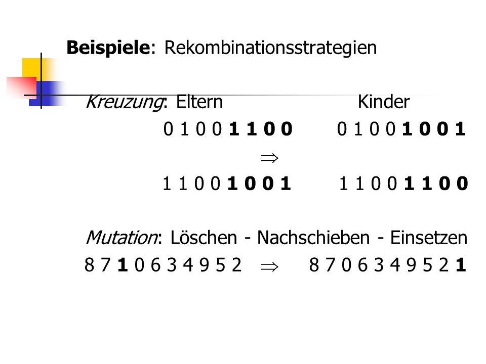 Beispiele: Rekombinationsstrategien Kreuzung: Eltern Kinder 0 1 0 0 1 1 0 0 0 1 0 0 1 0 0 1  1 1 0 0 1 0 0 1 1 1 0 0 1 1 0 0 Mutation: Löschen - Nach