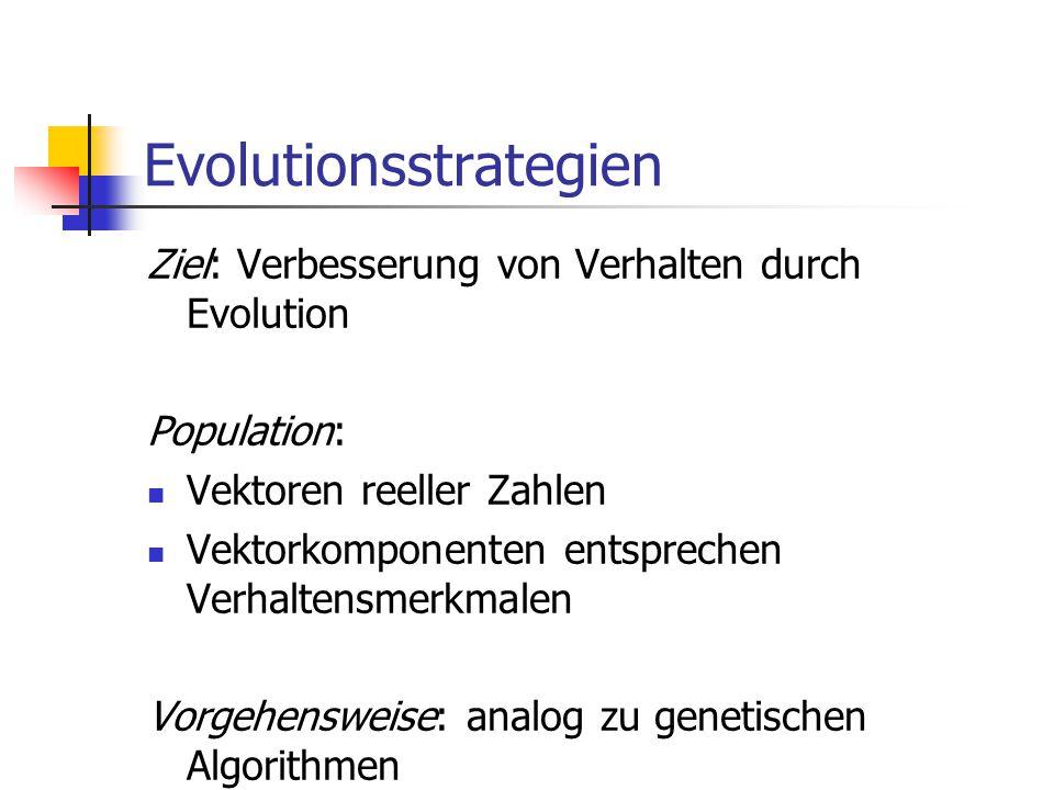 Evolutionsstrategien Ziel: Verbesserung von Verhalten durch Evolution Population: Vektoren reeller Zahlen Vektorkomponenten entsprechen Verhaltensmerk
