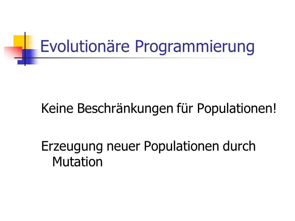 Evolutionäre Programmierung Keine Beschränkungen für Populationen! Erzeugung neuer Populationen durch Mutation
