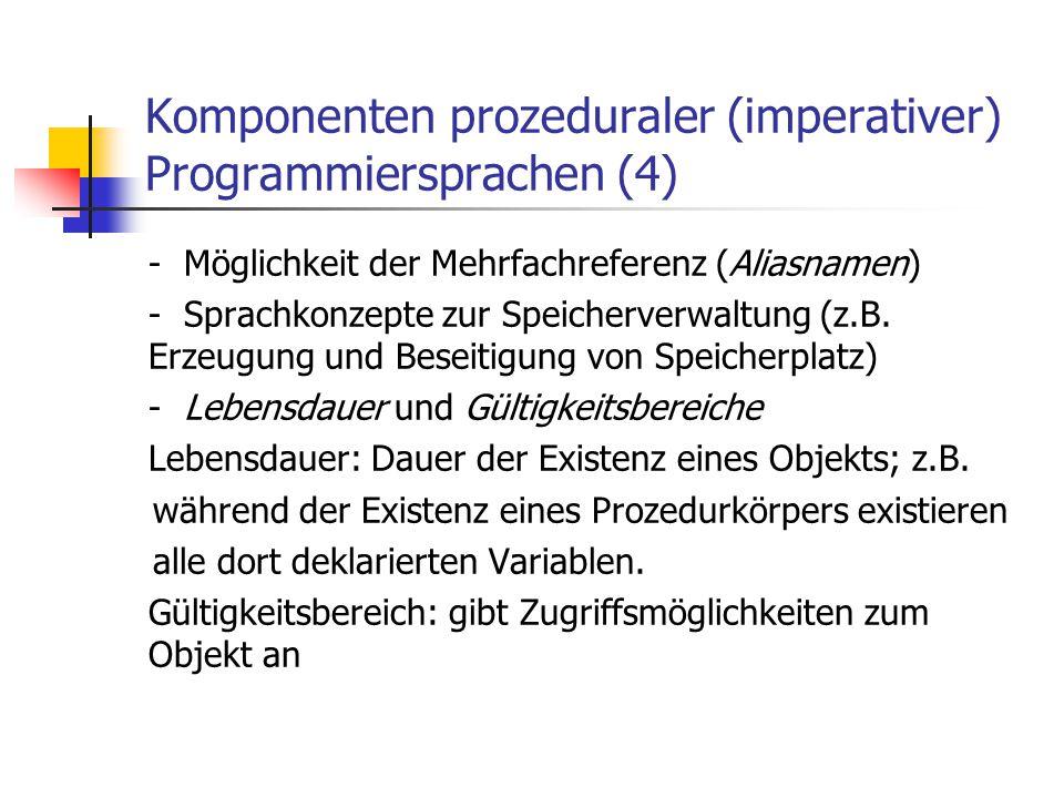 Komponenten prozeduraler (imperativer) Programmiersprachen (4) - Möglichkeit der Mehrfachreferenz (Aliasnamen) - Sprachkonzepte zur Speicherverwaltung