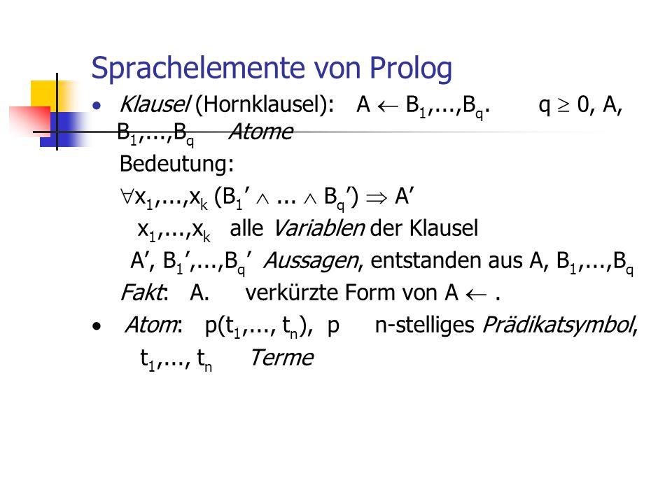 Sprachelemente von Prolog  Klausel (Hornklausel): A  B 1,...,B q. q  0, A, B 1,...,B q Atome Bedeutung:  x 1,...,x k (B 1 ' ...  B q ')  A' x 1