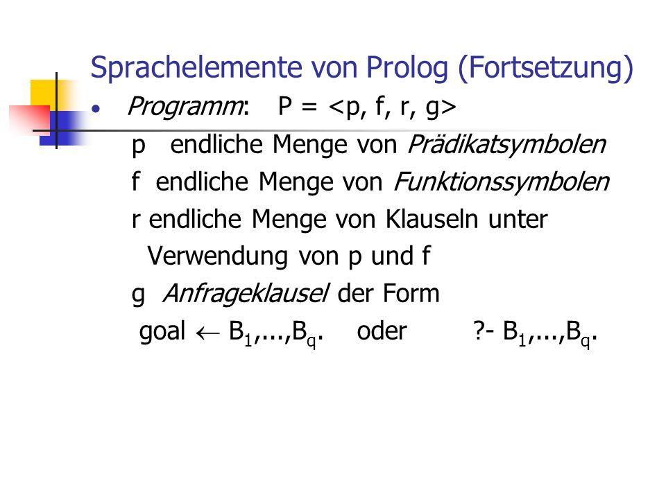 Sprachelemente von Prolog (Fortsetzung)  Programm: P = p endliche Menge von Prädikatsymbolen f endliche Menge von Funktionssymbolen r endliche Menge