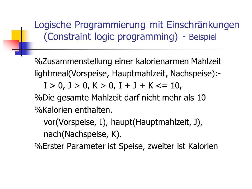 Logische Programmierung mit Einschränkungen (Constraint logic programming) - Beispiel %Zusammenstellung einer kalorienarmen Mahlzeit lightmeal(Vorspei