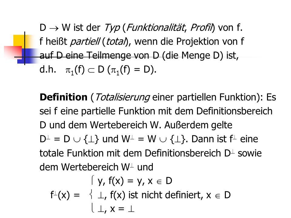 D  W ist der Typ (Funktionalität, Profil) von f. f heißt partiell (total), wenn die Projektion von f auf D eine Teilmenge von D (die Menge D) ist, d.