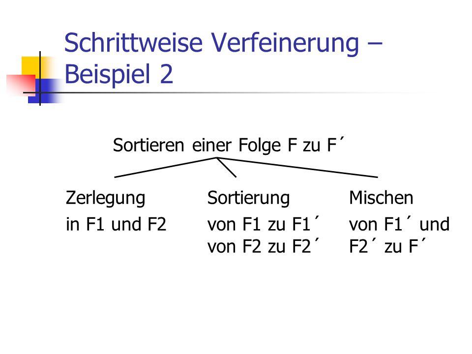 Schrittweise Verfeinerung – Beispiel 2 Sortieren einer Folge F zu F´ ZerlegungSortierungMischen in F1 und F2von F1 zu F1´von F1´ und von F2 zu F2´F2´
