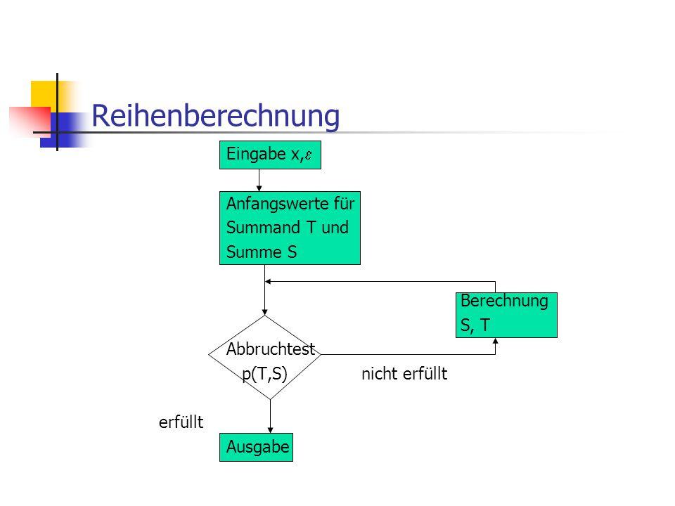 Reihenberechnung Eingabe x,  Anfangswerte für Summand T und Summe S Berechnung S, T Abbruchtest p(T,S)nicht erfüllt erfüllt Ausgabe