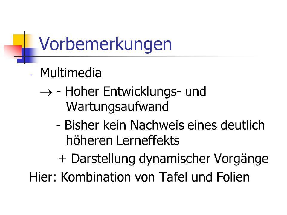 Vorbemerkungen - Multimedia  - Hoher Entwicklungs- und Wartungsaufwand - Bisher kein Nachweis eines deutlich höheren Lerneffekts + Darstellung dynami