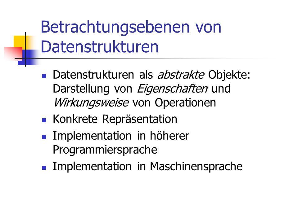 Betrachtungsebenen von Datenstrukturen Datenstrukturen als abstrakte Objekte: Darstellung von Eigenschaften und Wirkungsweise von Operationen Konkrete