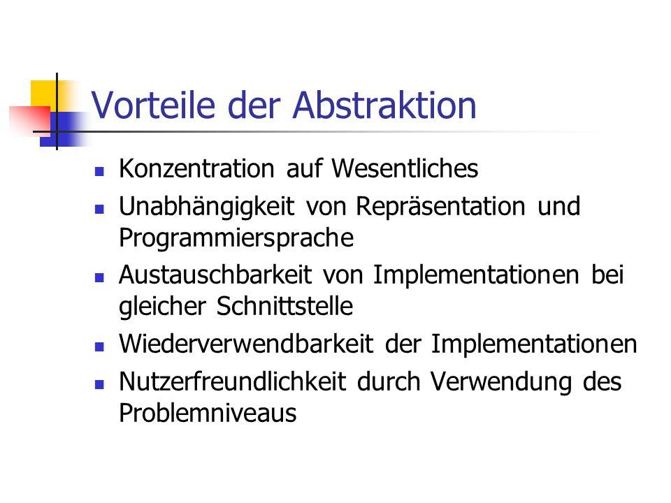 Vorteile der Abstraktion Konzentration auf Wesentliches Unabhängigkeit von Repräsentation und Programmiersprache Austauschbarkeit von Implementationen