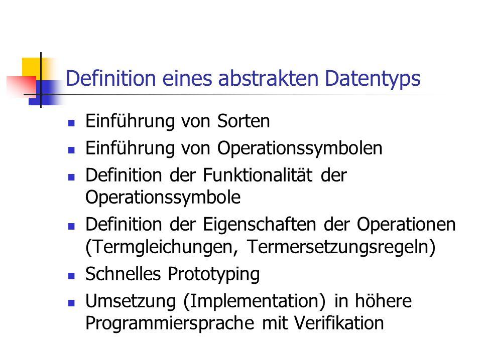 Definition eines abstrakten Datentyps Einführung von Sorten Einführung von Operationssymbolen Definition der Funktionalität der Operationssymbole Defi